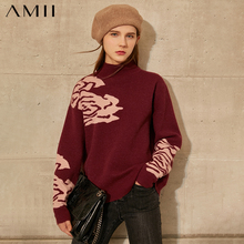 Amii Minimalism Autumn Winter Sweaters For Women Fashion Floral Thick Women's Turtleneck Sweater Female Pullover Tops  12070586