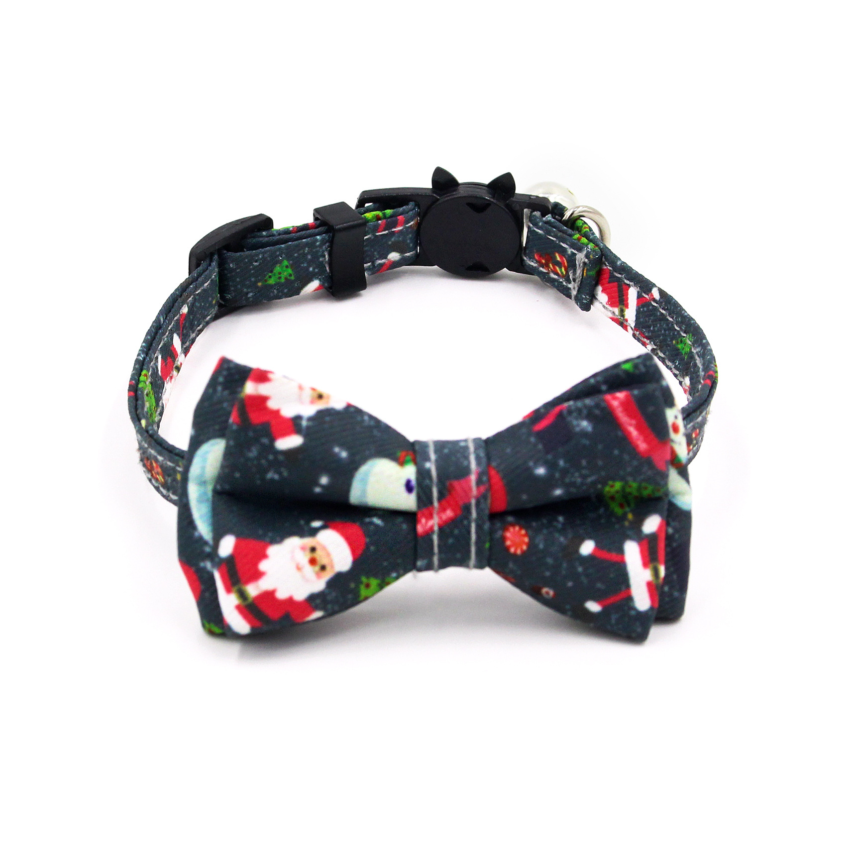 New Style Santa Claus Cat Neck Ring Colorful Printed Small Pet Collar And Wind Hanging Bell Dog Neck Ring