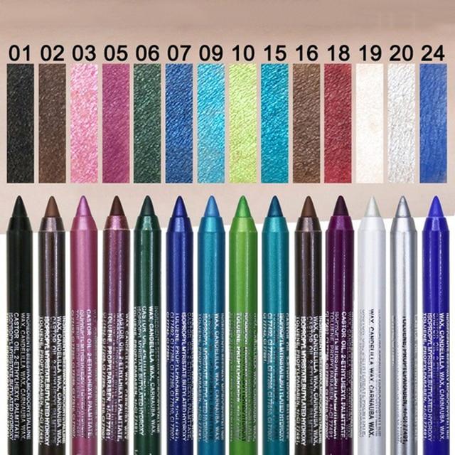 12 Color Long-lasting Eyeliner Pencil Waterproof Pigment Green Brown eyeliner  2