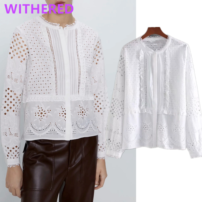 Withered England Indie Folk Vintage Embroidery Lace Blouse Women Blusas Mujer De Moda 2020 Cotton  Shirt Womens Tops And Blouse