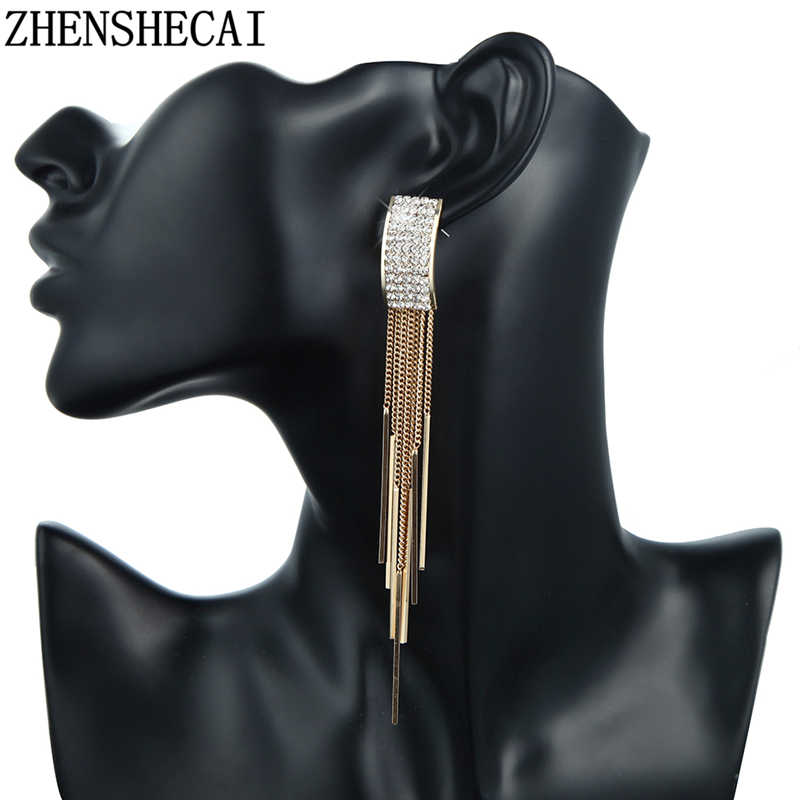 Korea fashion earrin2019 long rhinestone pendant earrings star ear line for women simple chain tassel jewelry brinco bijoux gift