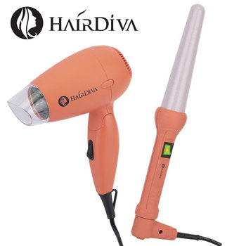 Mini Dual Voltage Travel Package hair dryer and Hair Curler, Cone Curling Wand, Curling Iron with Blow Dryer, secador de cabelo