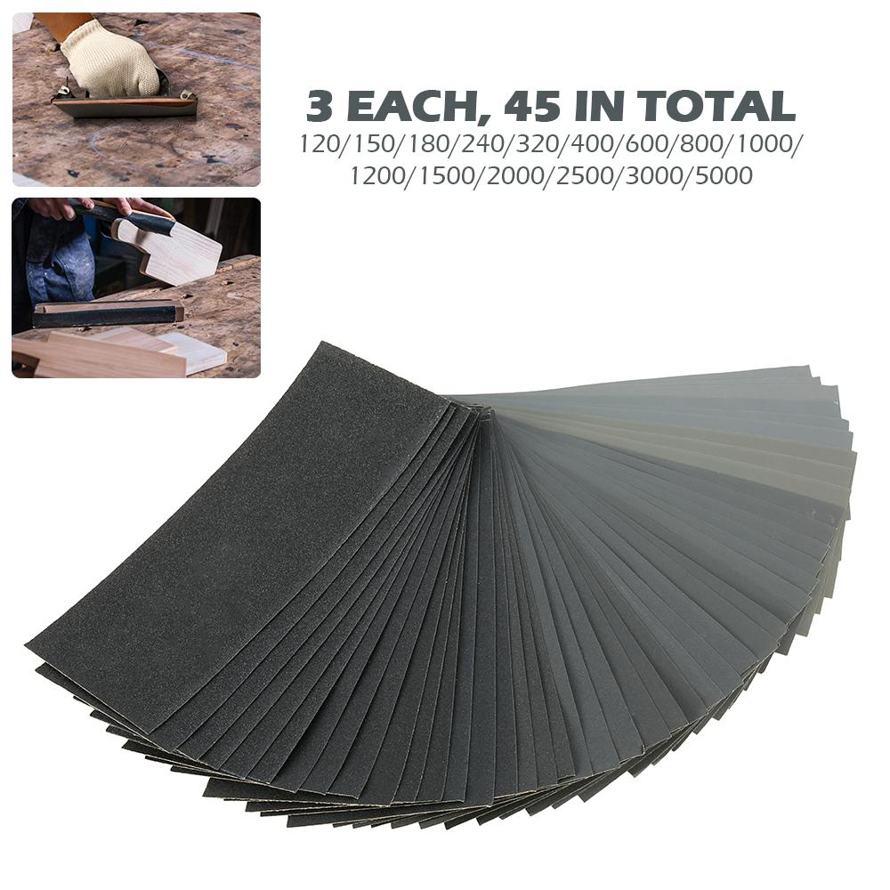 1-45PCS Mixed Wet /& Dry Waterproof Sandpaper 120-5000 Grit Sheets Assorted Wood