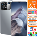 M12 Pro 6,7 дюймов смартфоны с двумя сим-картами Andriod11.0 устройство, док-станция Qualcomm 888 Deca Core, размер экрана глобальная версия 16 Гб Оперативная пам...