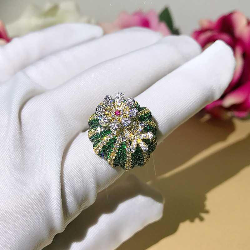 Mignon 925 en argent Sterling vert Cactus bague pavé vert Zircon pierre anneau mobile fleur pétale femmes fête bijoux