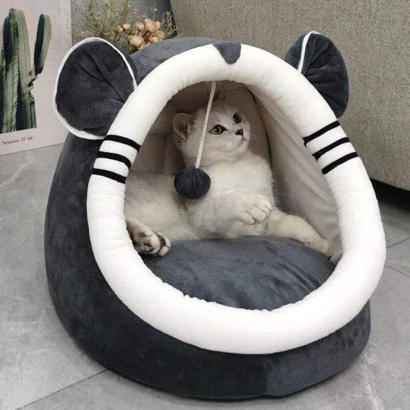 Новая кровать для домашних животных домик для кошки Роскошная собака пушистая Подушка Мягкая котенок пещера для кошки теплая уютная кроват...