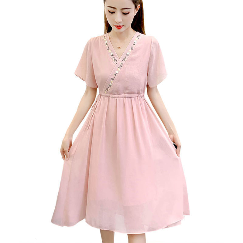 Femmes blanc rose Maxi robe élégant 2019 été nouvelle mode col en V Geborduurd ceinture élastique femmes robes Vestidos HJ312