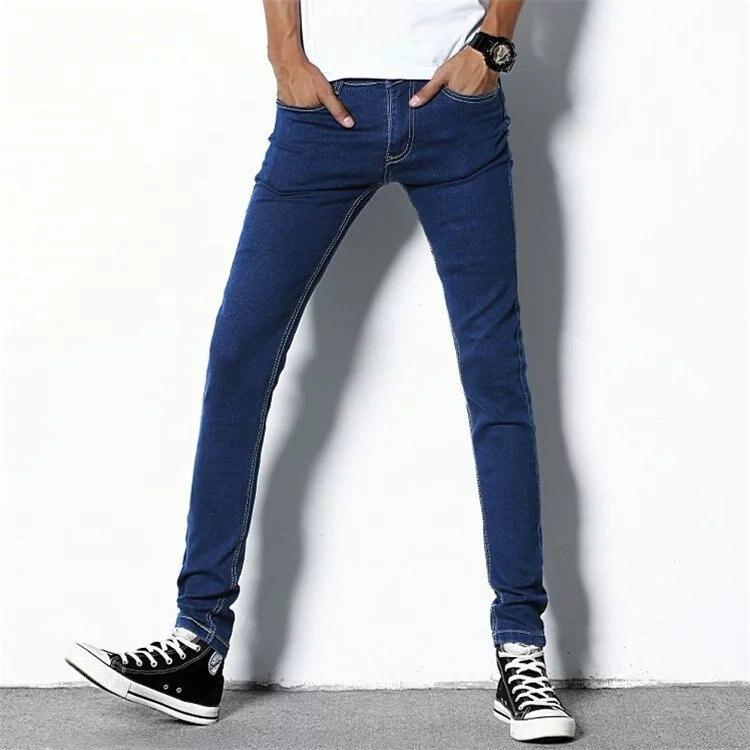 MEN'S Jeans Solid Color Classic Skinny Pants Casual Pants Slim Women's Stretch Cotton Teenager Versatile Pants Trousers