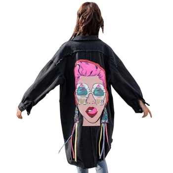 Boyfriend Casual Denim Jacket Woman Loose Coat Vintage Pattern Korea Print Windbreaker Chaqueta Mujer Harajuku Befree куртка утепленная befree befree mp002xw0yh96