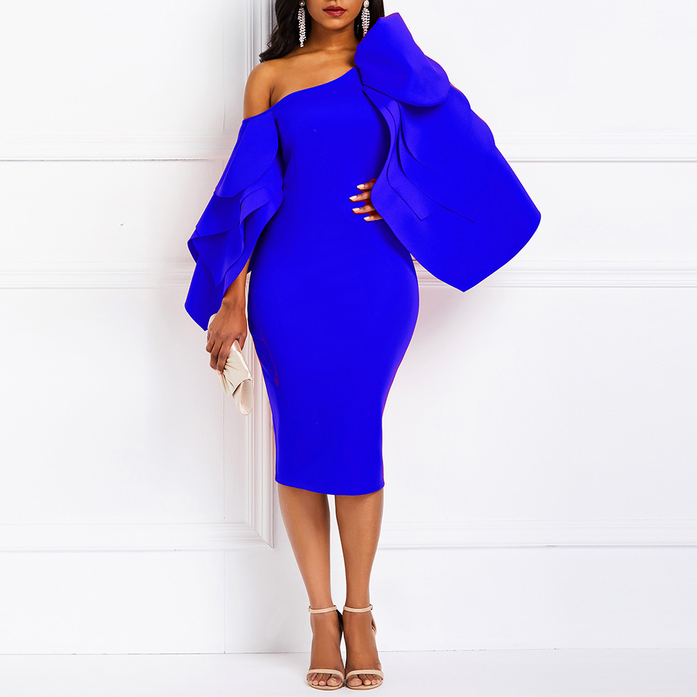 African Fashion Blue One Shoulder Mermaid Party Dress Layer Ruffles Women Celebrity Tight Club Wedding Party Cocktail Dress