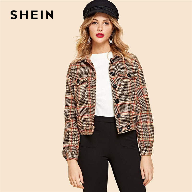 SHEIN Multicolor Flap Pocket Front Houndstooth Utility Jacket Women Crop Spring Coat Buttoned Long Sleeve Casual Jackets 1
