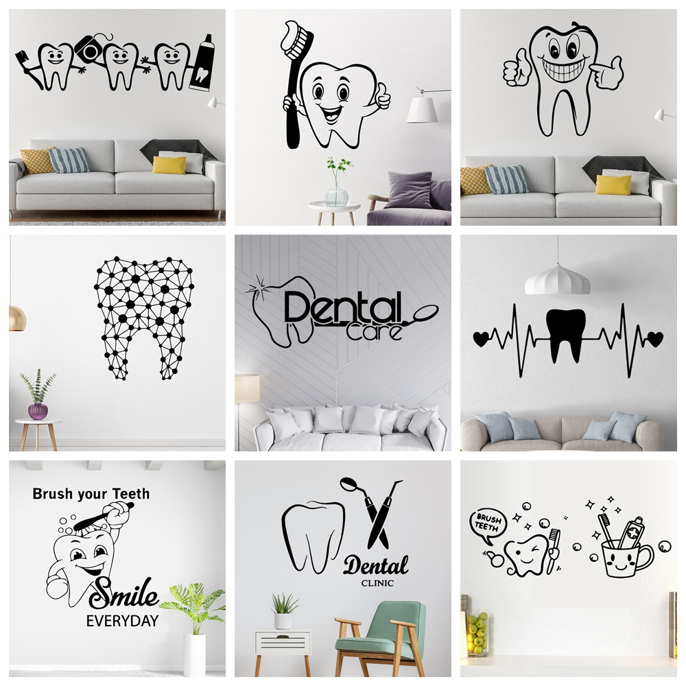 Brush Teeth Stickers Vinyl Wall Sticker For Dentist Shop Room Decor Waterproof Wall Art Decal наклейки на стену(China)