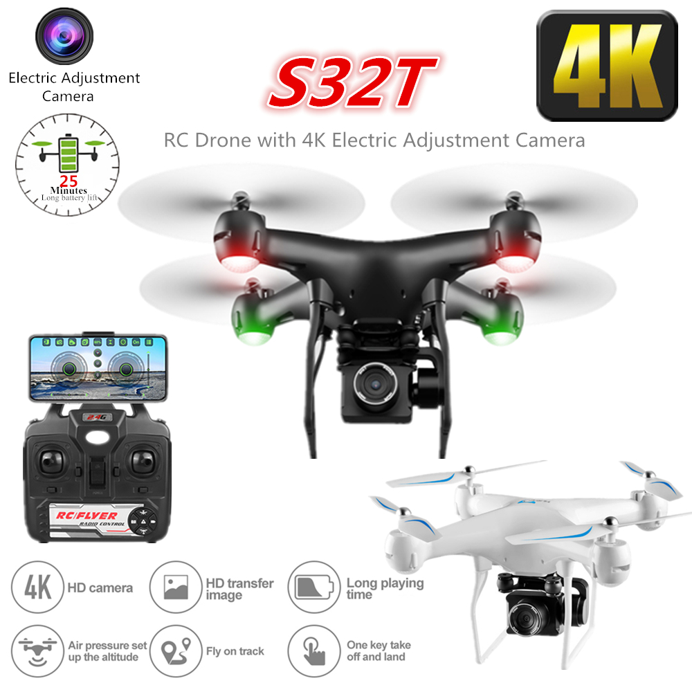 RC Drone with Electric Adjustment 4K WiFi FPV Camera  Altitude Hold Quadcopter 25 Mins Flying Time RC Helicopter Toy S32T 1