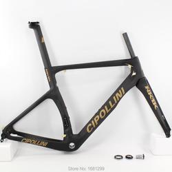 Najnowszy złoty logo 700C jazda na rowerze rower szosowy matowy 3K całości z włókna węglowego rama roweru węgla widelec + sztyca + zacisk + słuchawki uwalnia statek