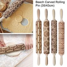 Christmas Embossed Rolling Pin Dough Engraved Roller for Baking Cookies Noodles