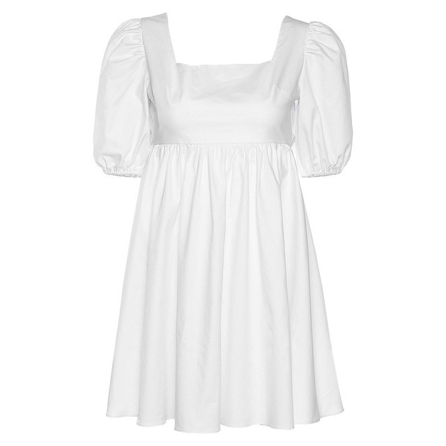 NEDEINS Women Summer Dress Summer Fashion White Elegant Puff Sleeve Backless Party Beach Dress Vacation Casual Mini Dress 6