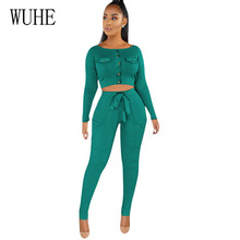 WUHE Vintage Two Pieces Sets Long Sleeve Button Top and Slim Pockets Pants Women Casual Bodycon Rompers Elegant Retro Playsuits wuhe women fashion o neck short sleeve long swing top and slim pants summer casual two pieces sets playsuits combinaison femme