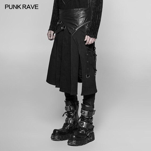 PUNK RAVE Gothic Steampunk Men Skirt Vintage Japanese Removable Cosplay Men's Half Skirt Pants 2