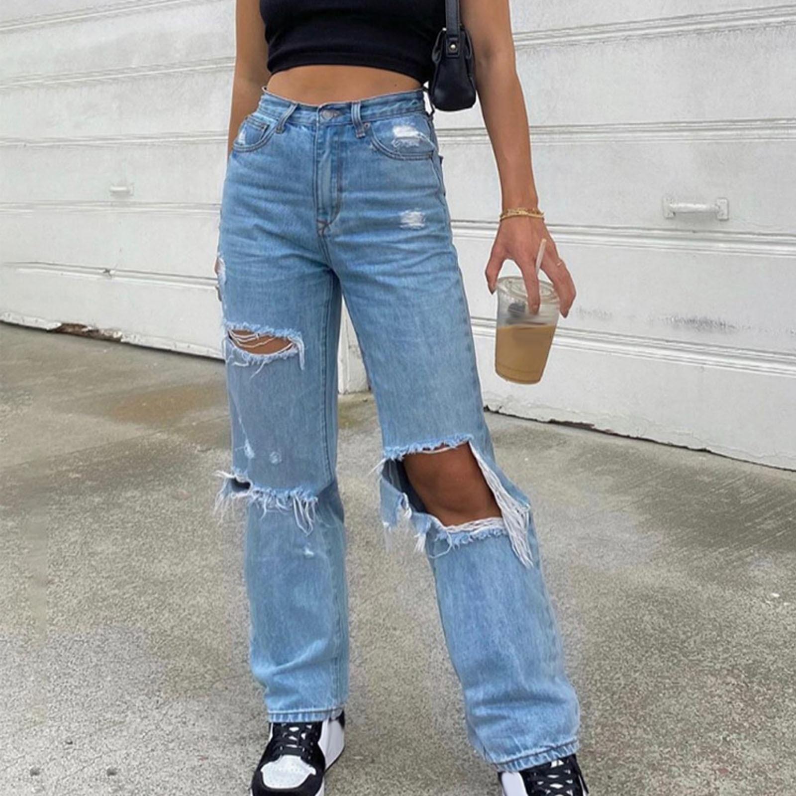 Высокая талия рваные прямые джинсы в винтажном стиле Для женщин Повседневное уличная 90s широкие мешковатые джинсы бойфренда штаны открытые...