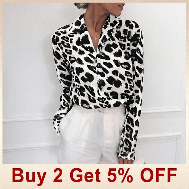 Chiffon Blouse Long Sleeve Sexy Leopard Print Blouse Turn Down Collar Lady Office Shirt Tunic Casual Loose Tops Plus Size Blusas 1