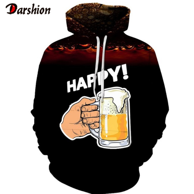 New 3D Hoodies Sweatshirts Men Beer 3D Print Casual Fashion Streetwear Tops Pullovers Spring Tracksuit Personality Style Hoodies