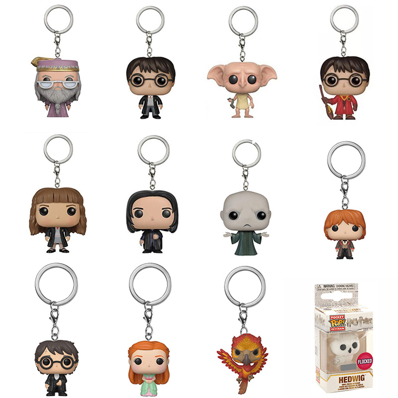 funko pop Original keychain Harri Potter Ginny Ron Fawkes Hedwig Moaning Myrtle Pocket Vinyl Action Figure Toys For kids Gifts