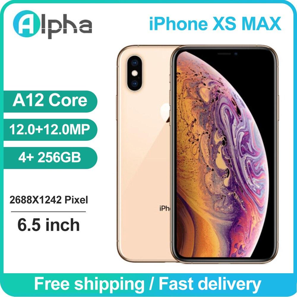 Apple-teléfono móvil iPhone XS Max usado, Original, desbloqueado, con identificación facial, 64GB/6,5 GB de ROM, IOS, A12, Chip biónico, 256 MP