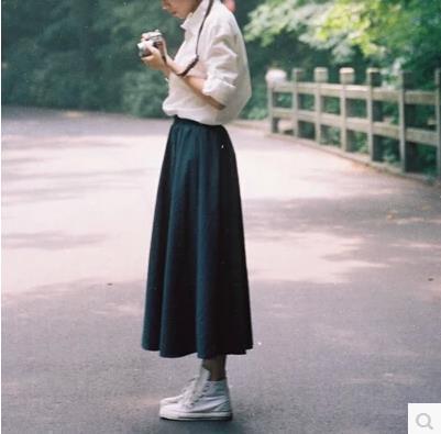 Annisenlin Japanese-style Mori Girl Hipster Pleated Skirt Versatile Solid Color Cotton Linen Skirt