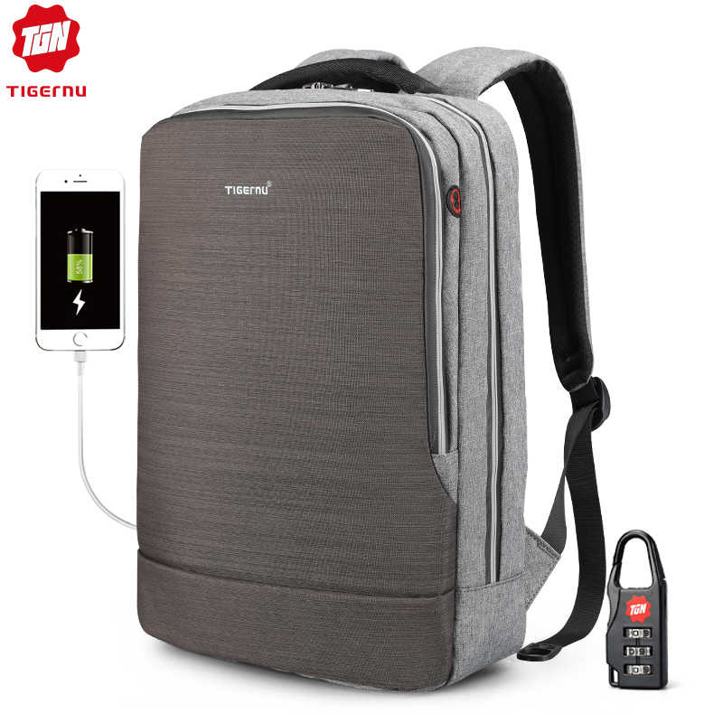 Yeni Tigernu kadın sırt çantası 4.0A USB hızlı şarj Anti hırsızlık sırt çantası kadın için 15.6 Laptop iş seyahat sırt çantası Mochila