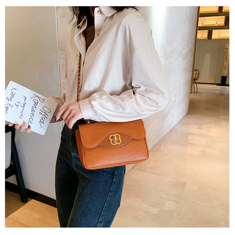 Chain Shoulder Bag Women Flower Lock Design Crossbody Bags 2021 PU Leather Zipper Brown Handbag For Ladies High Quality MM50044