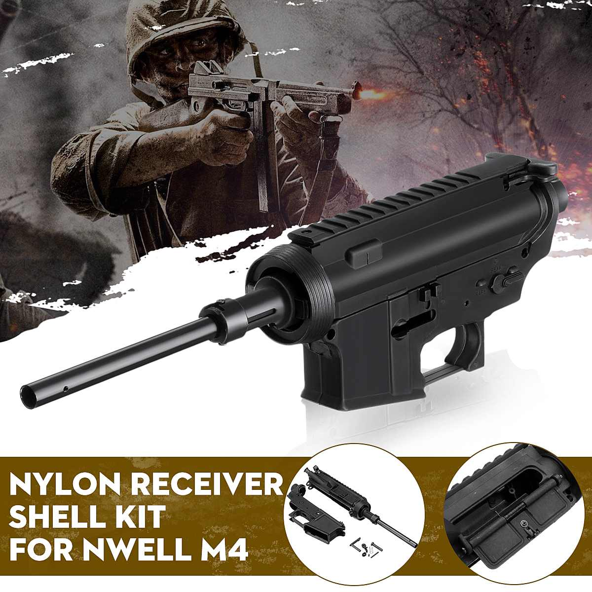 Black Nylon Receiver Shell Kit For Nwell M4 Gel Ball For Blaster Toy Accessories