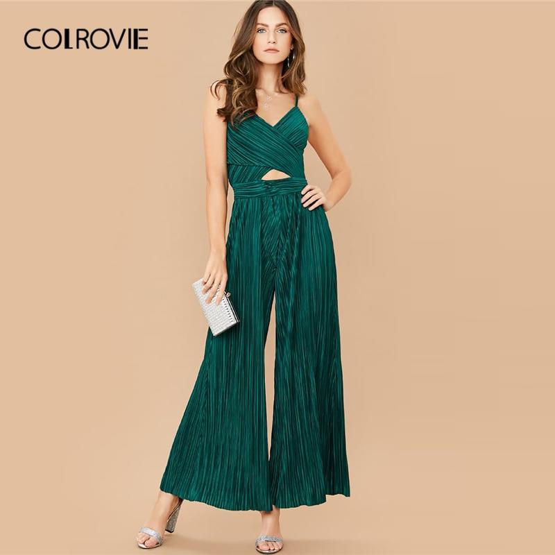 COLROVIE Green Cross Wrap Wide Leg Pleated Peekaboo Slip Jumpsuit High Waist Solid Cami Jumpsuits Women 2020 Spring Jumpsuits