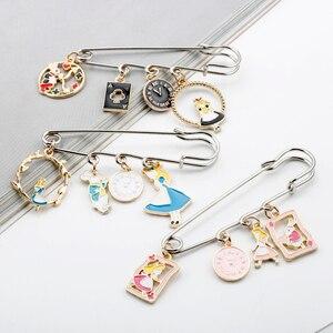 Alice In Wonderland Clip Pins Cute Safety-Pin Cartoon Figure Shape Pendant Brooch Enamel Lapel Pin Jewelry Badges Pins -5