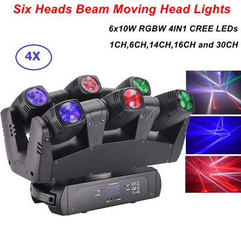 Professional LED Beam Moving Head Light 6X10W RGBW CREE LEDS Beam Lights DMX 512 Control DJ Christmas Party Show Stage Lighting tangspower 1200lm cree xml u2 4 leds 3 modes white light aluminum led flashlight