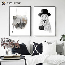 ART ZONE Lion And Cat Nordic Canvas Painting Black And White Morden Animal Decor Living Room Home Decor Wall Art Print Painting(China)