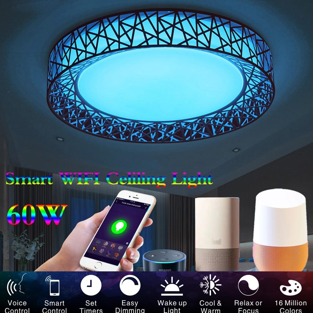 Светодиодный потолочный светильник 110 В 220 В, умный wifi, современный светильник для гостиной, светильник ing, работающий с Apple IFTTT Alexa Echo Google Home, светодиодный светильник