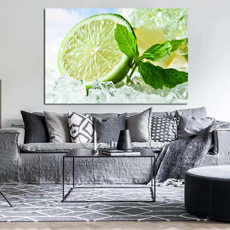 Fresh Lime And Ice Cubes Canvas Poster Nordic Decorative Picture Painting Modern Wall Art Canvas Painting Home Decor Art Prints