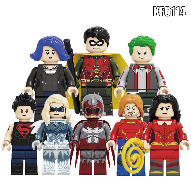 Building Blocks Titans Season Bricks Dove Superboy Hawk Aqualad Raven Robin Beast Boy Action Figures For Children Toys KF6114