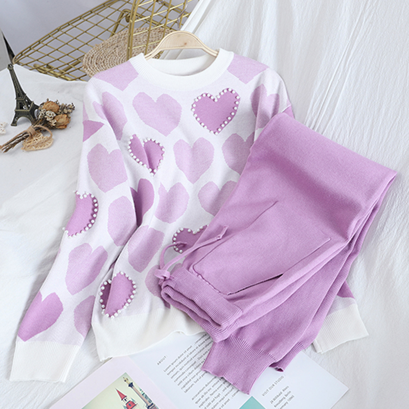 Hot Sale Spring Fall Fashion Sweet Love Print Beading Pullover Tops + Double Pocket Lace Up Trousers Knit Two-piece Sets Women
