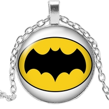 2019 New Movie Peripheral Yellow Bottom Black Bat Necklace Jewelry Pendant Crystal Convex Round Glass Childrens Gift