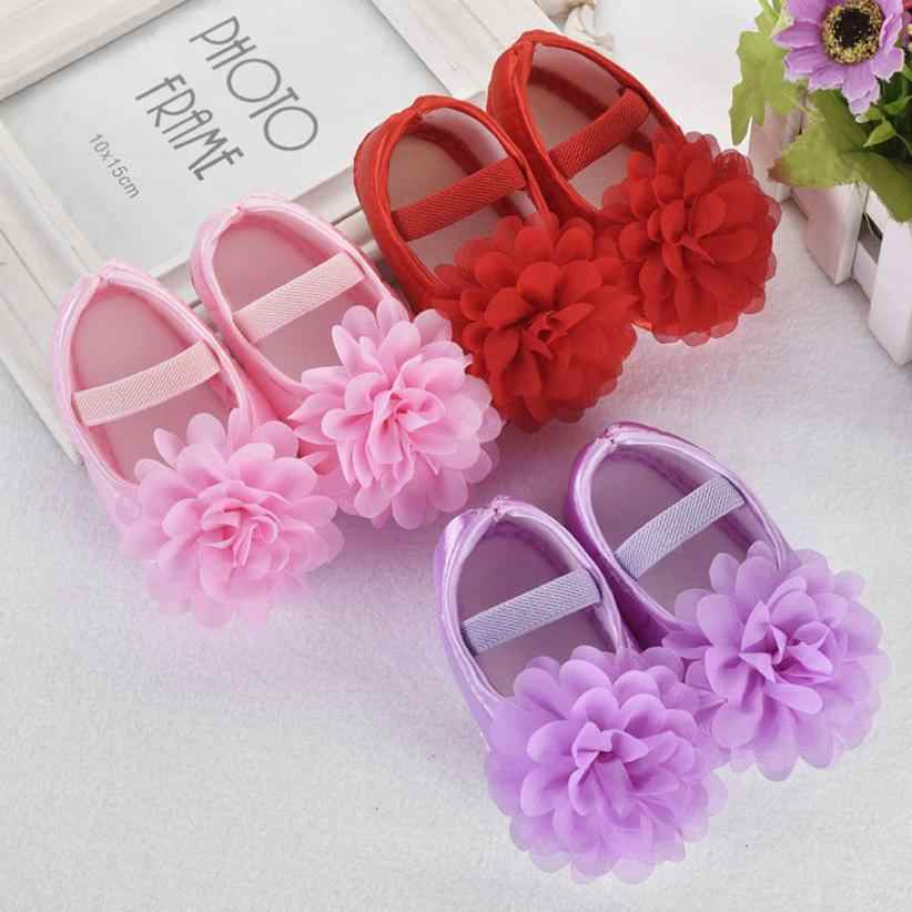 Toddler Baby Girl Boy Chiffon Flower Elastic Band Newborn Walking Shoes Baby Girl Shoes zapatos tape for tennis boots baby