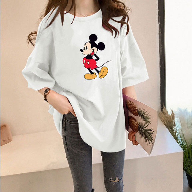 Mickey Cartoon Women T-Shirt Cute Picture Print Loose Short Sleeve For Girls Summer Casual Fashion Plus Size Lady Tops Tees New