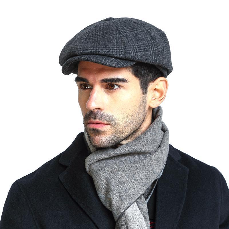 Winter Peaky Blinders Flat Cap Wool Vintage Octagonal Hat Man Cabbie Hat Ivy Ear Hat Cap Irish Hunting Ear Flap Male Newsboy Cap