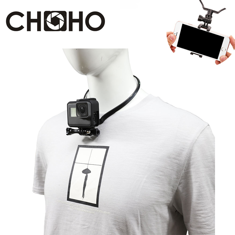 Universal Action Camera Neck Hanging Phone Holder Stand Lazy Mobile Sports Camera Bracket Clamp for GOPRO Hero 4//3+//3//2//1//SJCAM//xiaoyi//GoPro Hero4 Session//hero5 //hero6//hero7