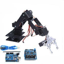 6 DOF Robot Arm Manipulator with Arduino Control 6pcs 180 Degree Servos Metal Gripper for DIY Robotic Car Program STEM Toy Parts