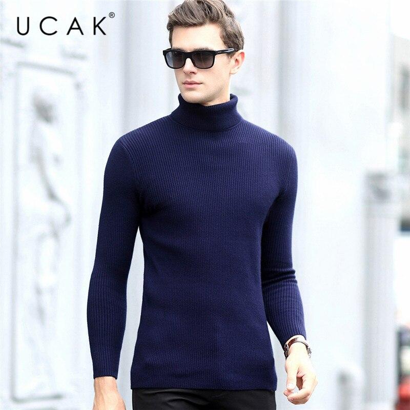 UCAK Brand Casual Sweaters Men Turtleneck Striped Streetwear New Arrival Pull Homme Warm Winter Thick Pullover Sweater Men U1021