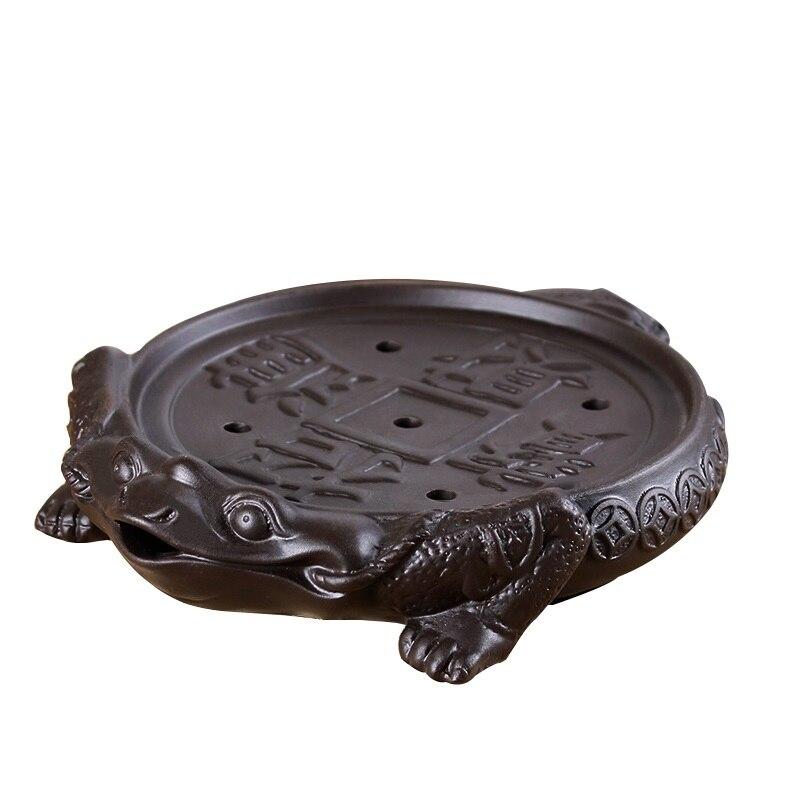 yixing Kung Fu tea tray Zisha tea sea pots threelegged toads Lucky treasure ceramic tea sets dry bubble plate water storage mini in Tea Trays from Home Garden