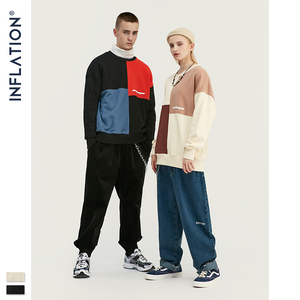 Image 5 - INFLATION DESIGN 2020  Oversized Men Sweatshirt Contrast Color Loose Fit Streetwear Men Autumn Casual Sweatshirt Cotton 9605W
