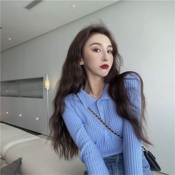 Korean Polo neck Knitted Top in spring and autumn, solid color, slim and slim, short bottomed shirt with long sleeves cardigan 1
