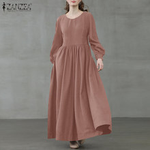 2021 zanzea feminino casual manga cheia puff vestido longo elegante vintage maxi tribunal sólida vestidos plissados baggy plus size